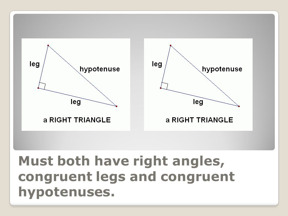 Must both have right angles, congruent legs and congruent hypotenuses.