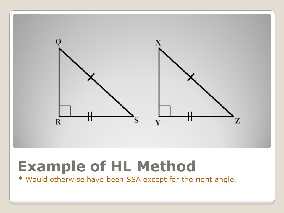 Example of HL Method * Would otherwise have been SSA except for the right angle.