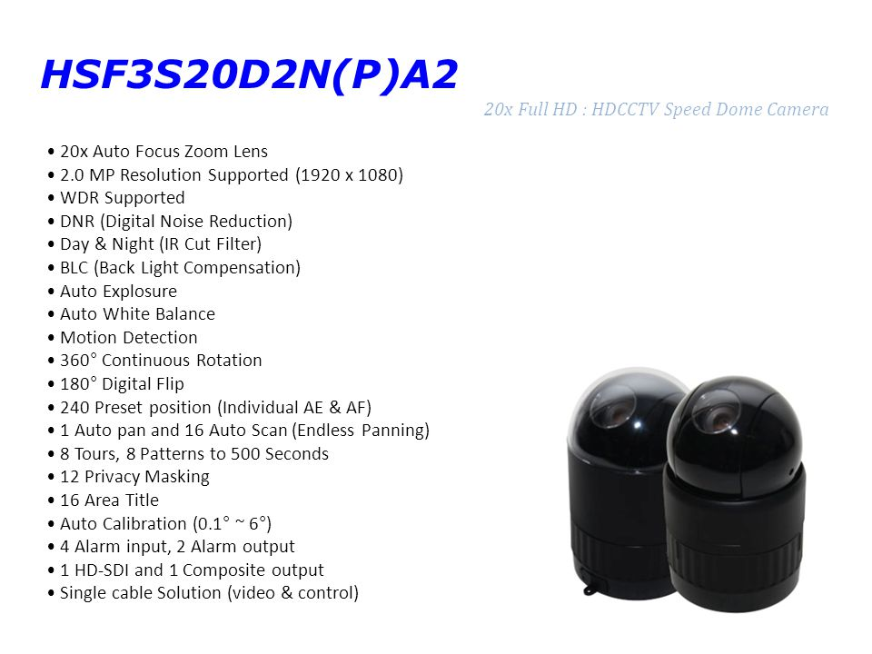 HSF3S20D2N(P)A2 20x Full HD : HDCCTV Speed Dome Camera