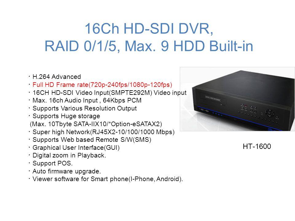 16Ch HD-SDI DVR, RAID 0/1/5, Max. 9 HDD Built-in
