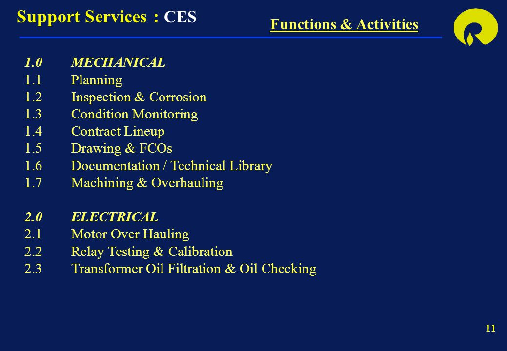 Support Services : CES Functions & Activities 1.0 MECHANICAL