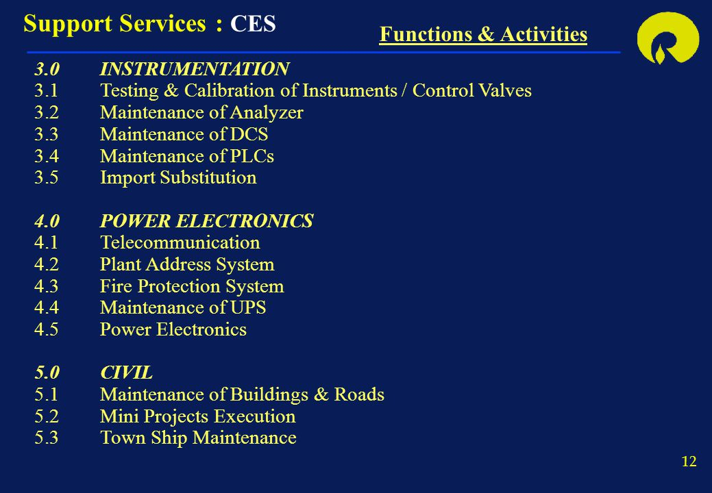 Support Services : CES Functions & Activities 3.0 INSTRUMENTATION
