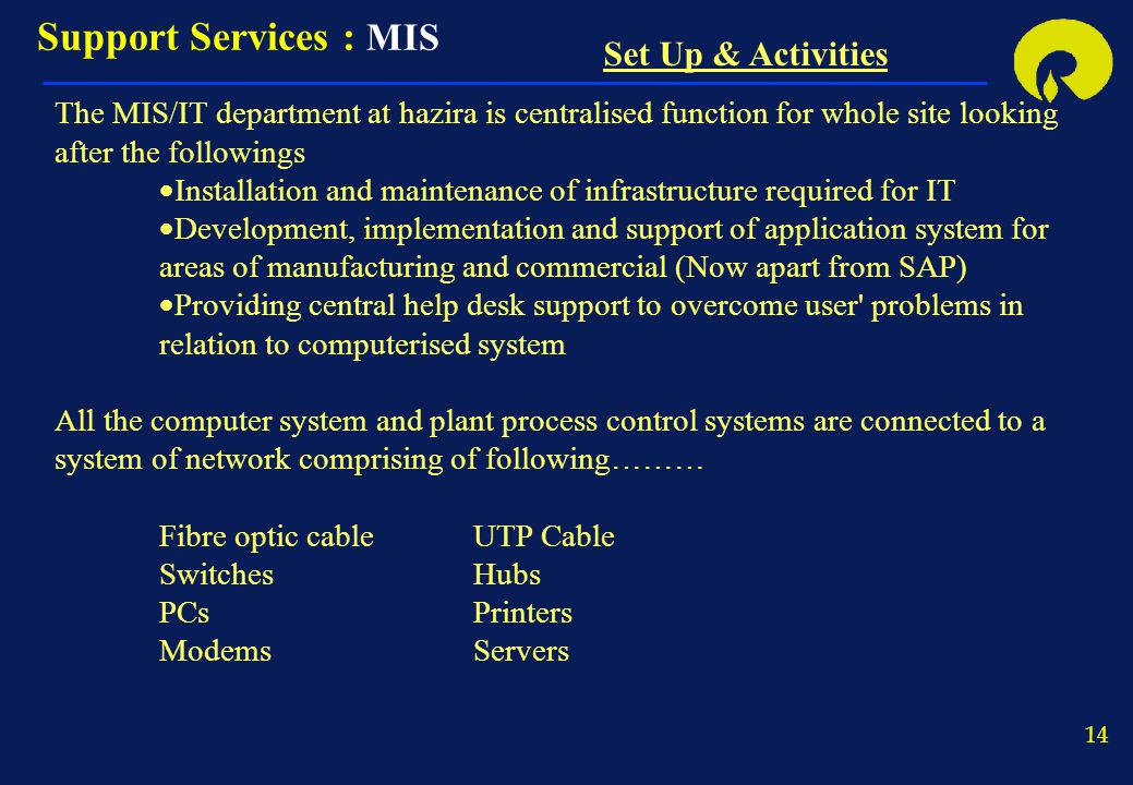 Support Services : MIS Set Up & Activities
