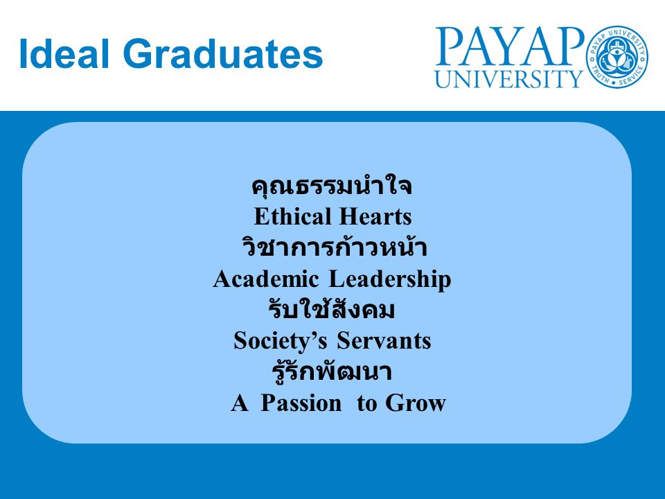 Ideal Graduates คุณธรรมนำใจ Ethical Hearts วิชาการก้าวหน้า