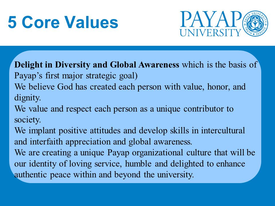 5 Core Values Delight in Diversity and Global Awareness which is the basis of Payap's first major strategic goal)