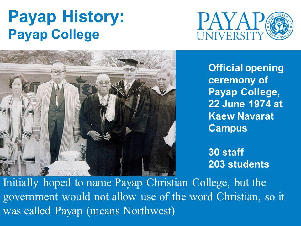 Payap History: Payap College