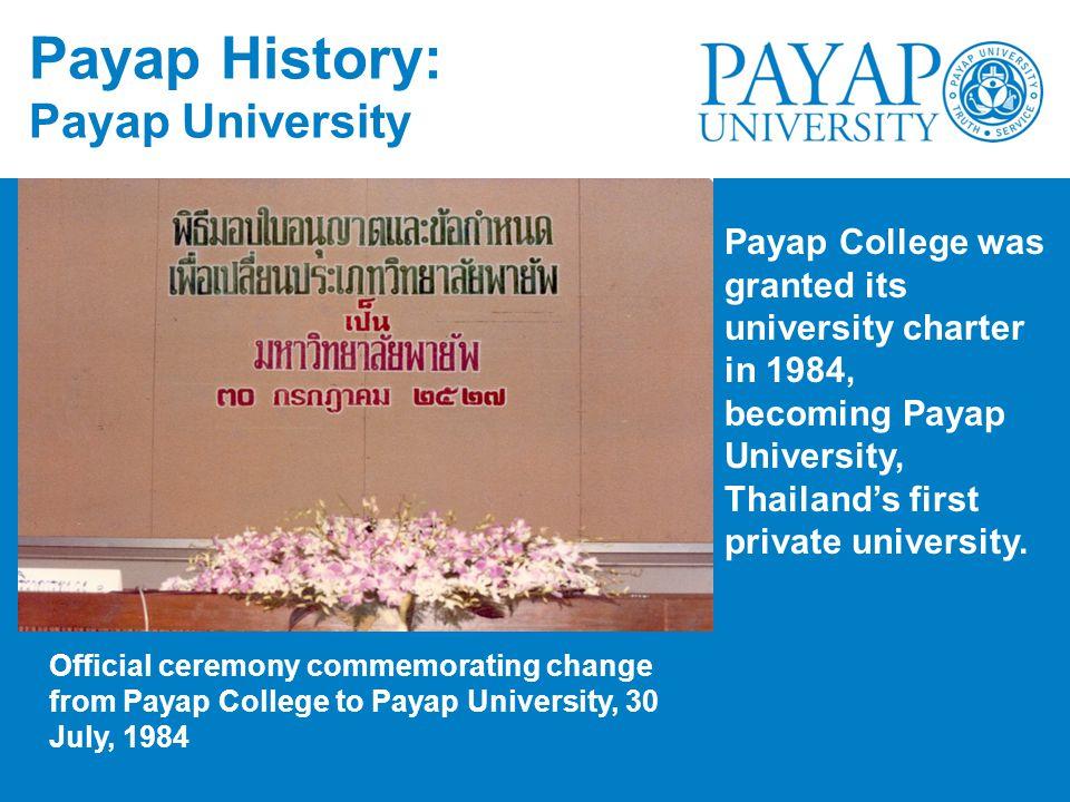 Payap History: Payap University
