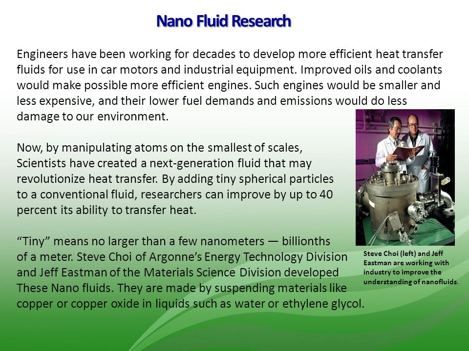 Nano Fluid Research