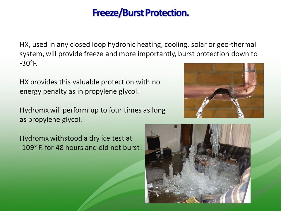 Freeze/Burst Protection.