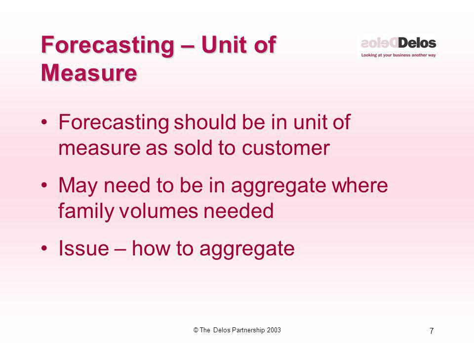 Forecasting – Unit of Measure