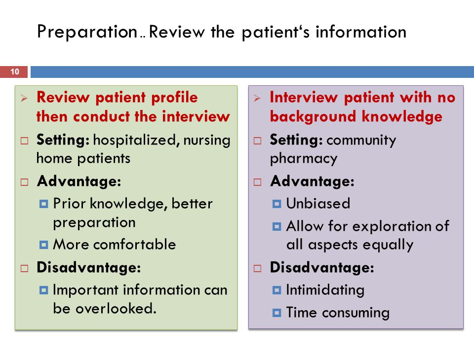 Preparation .. Review the patient's information