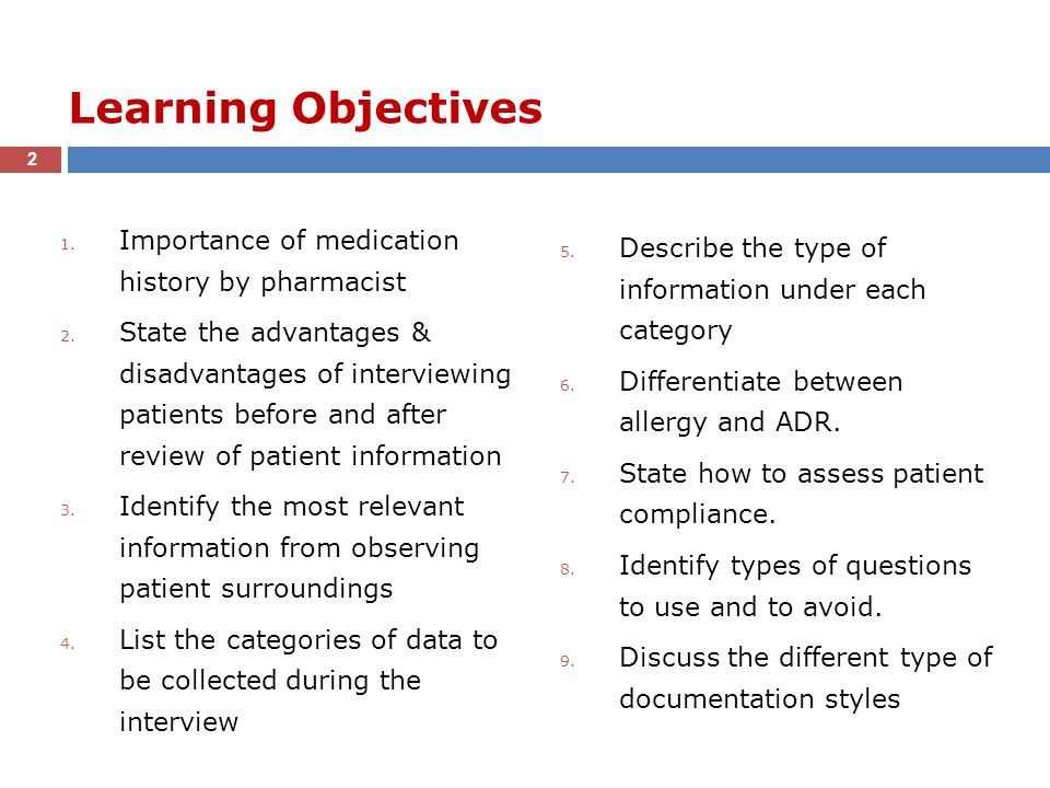 Learning Objectives Importance of medication history by pharmacist