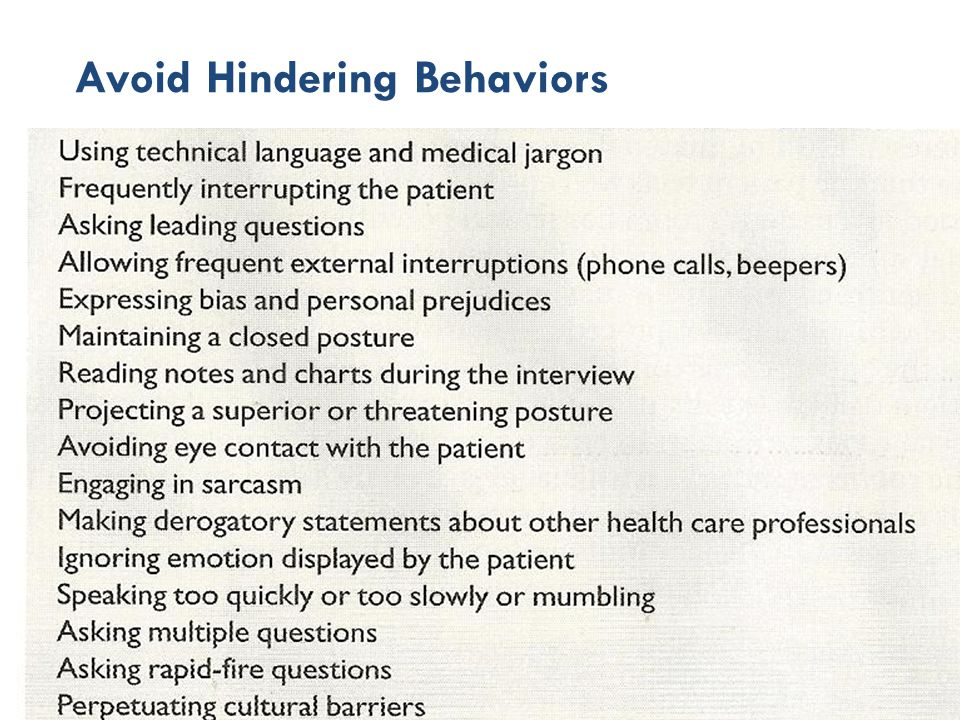 Avoid Hindering Behaviors
