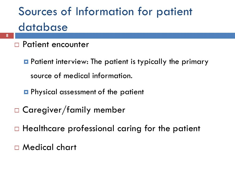 Sources of Information for patient database