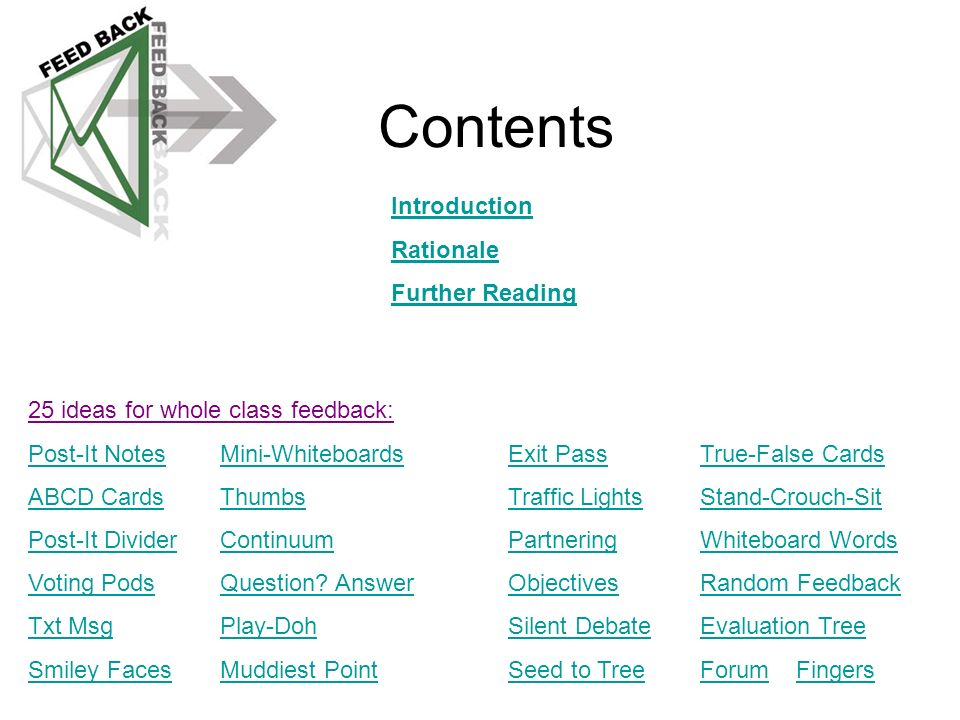 Contents Introduction Rationale Further Reading