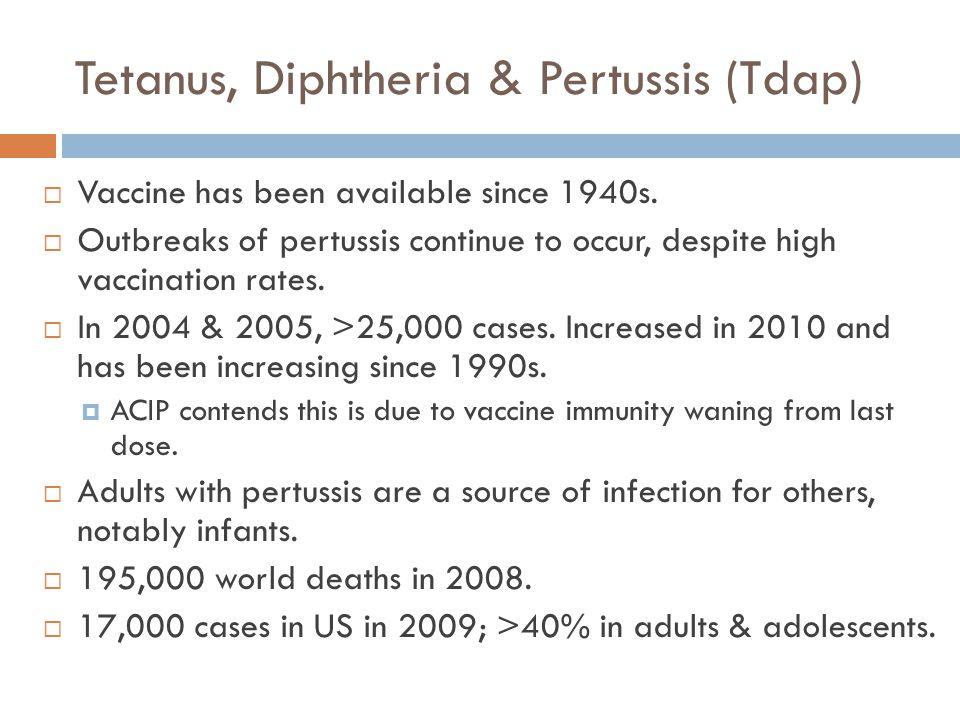 Tetanus, Diphtheria & Pertussis (Tdap)
