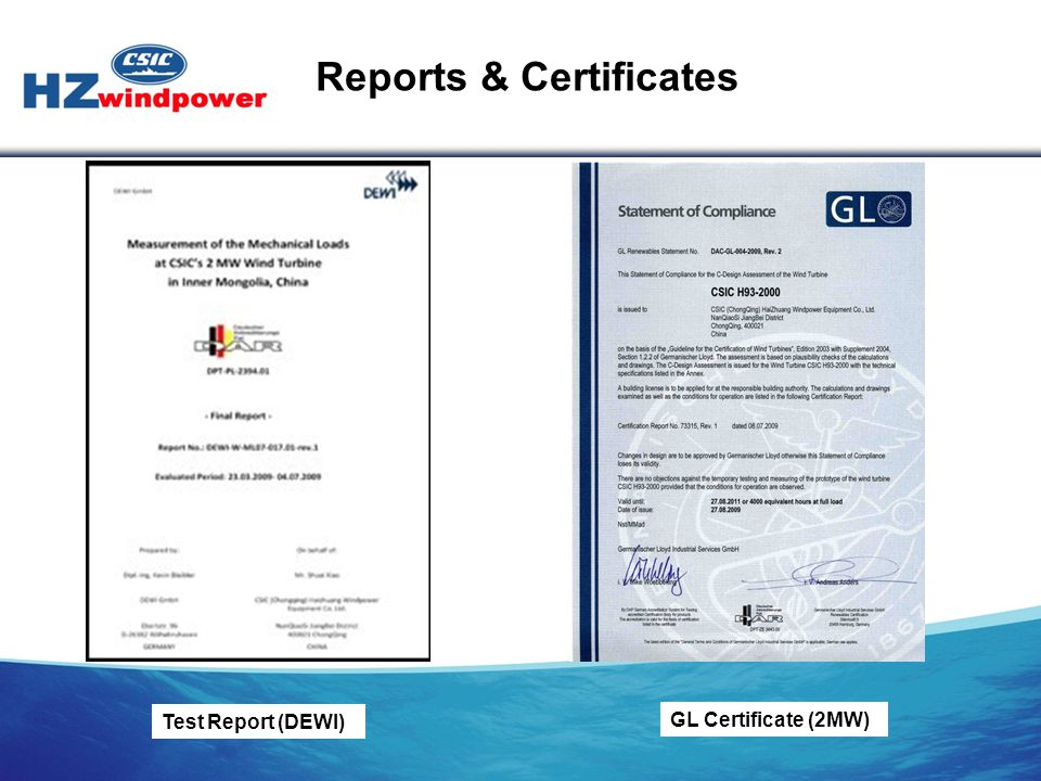 Reports & Certificates