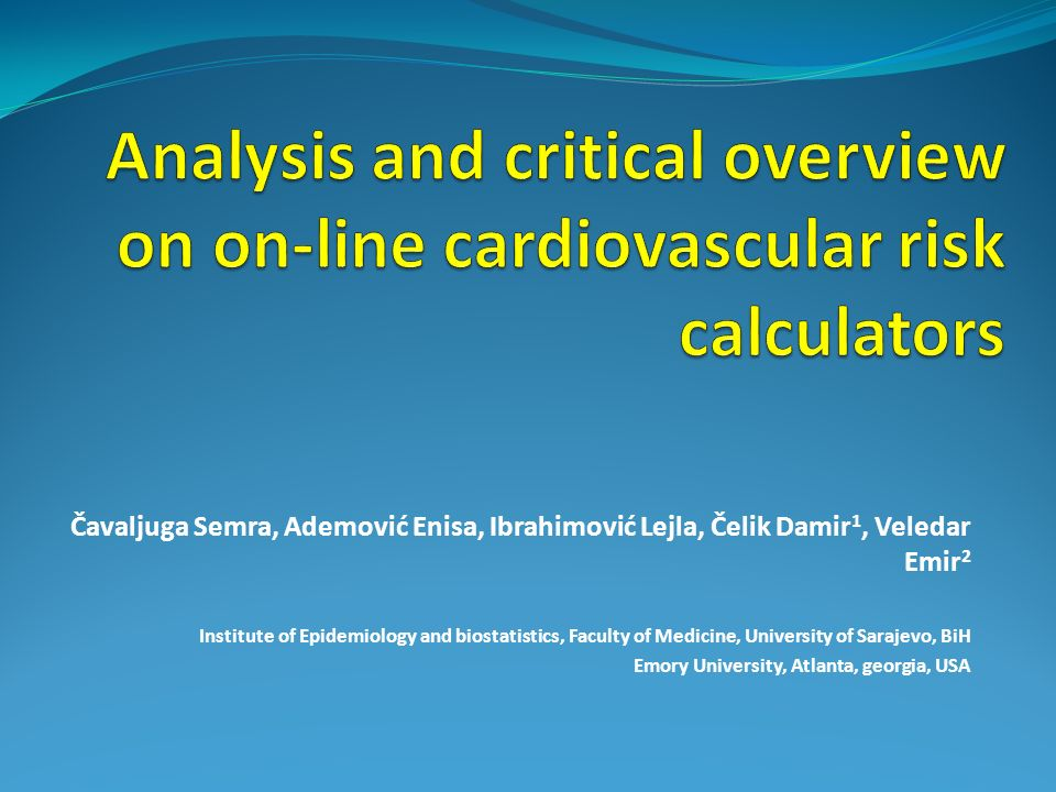 Analysis and critical overview on on-line cardiovascular risk calculators