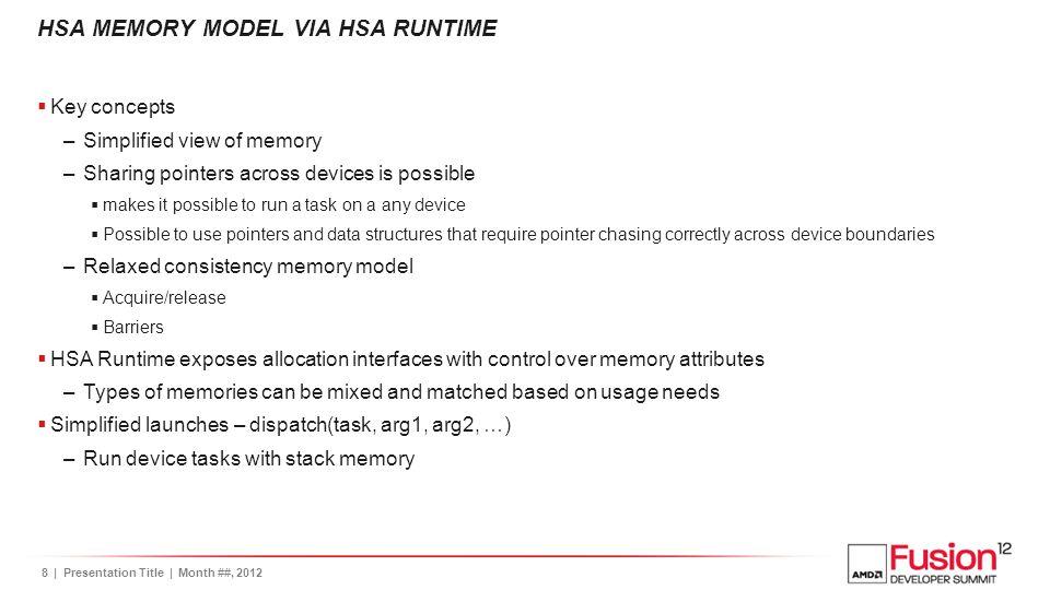 HSA MEMORY MODEL VIA HSA RUNTIME
