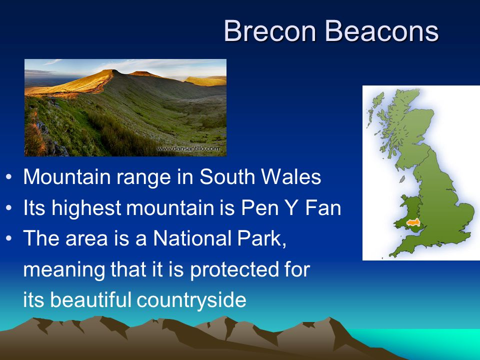 Brecon Beacons Mountain range in South Wales