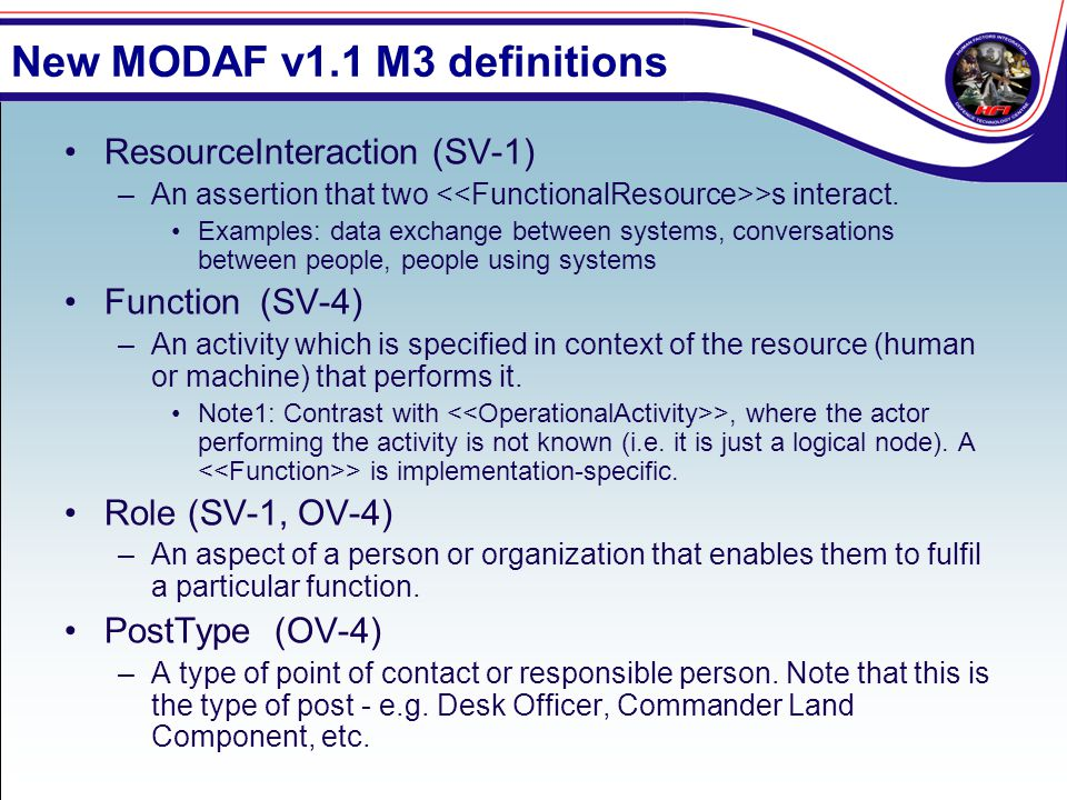 New MODAF v1.1 M3 definitions