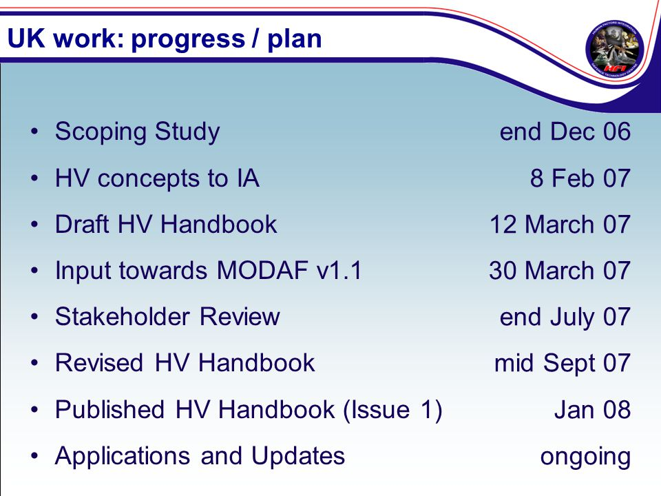 UK work: progress / plan