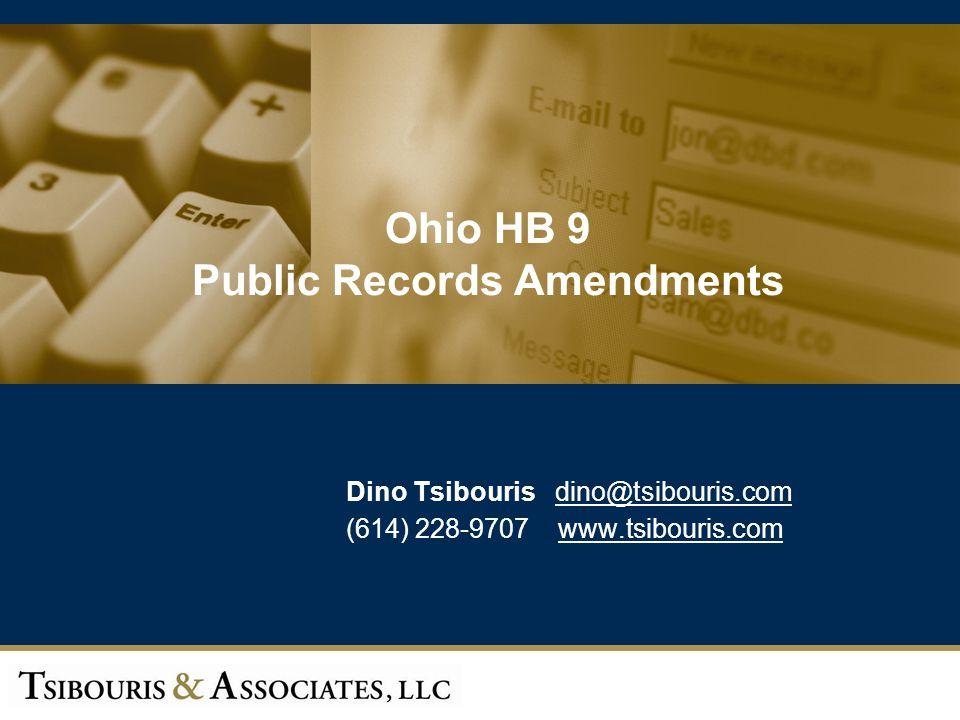 Ohio HB 9 Public Records Amendments
