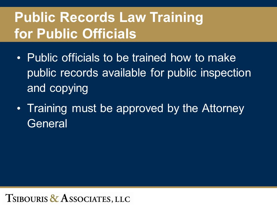 Public Records Law Training for Public Officials
