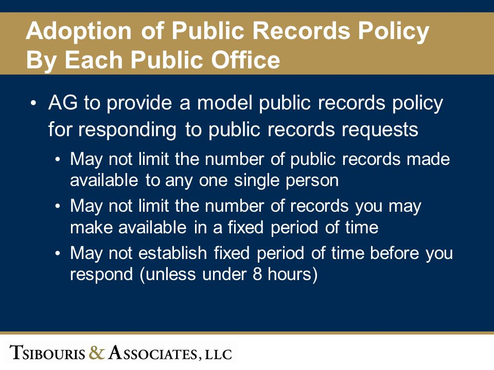 Adoption of Public Records Policy By Each Public Office