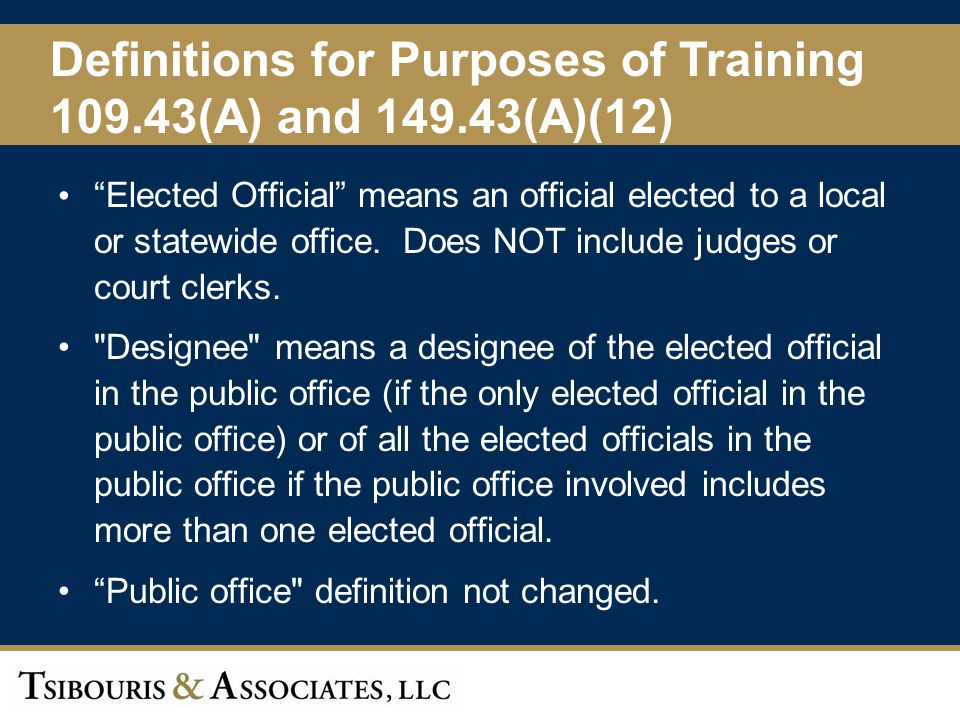 Definitions for Purposes of Training 109.43(A) and 149.43(A)(12)