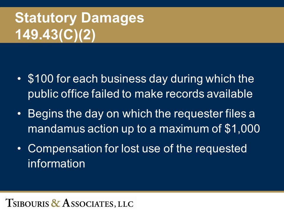 Statutory Damages 149.43(C)(2)