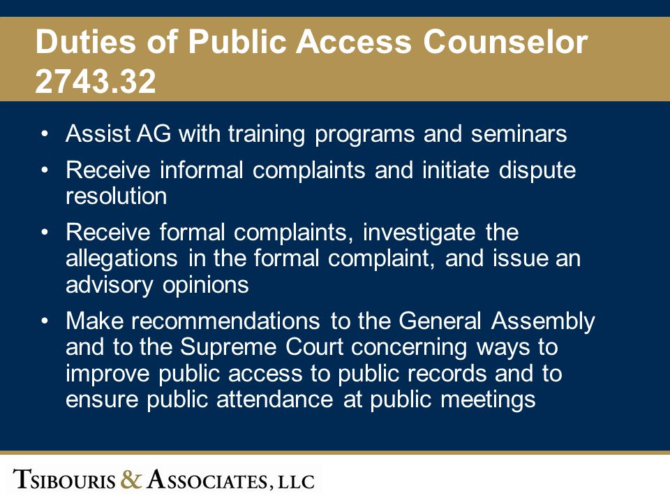 Duties of Public Access Counselor 2743.32