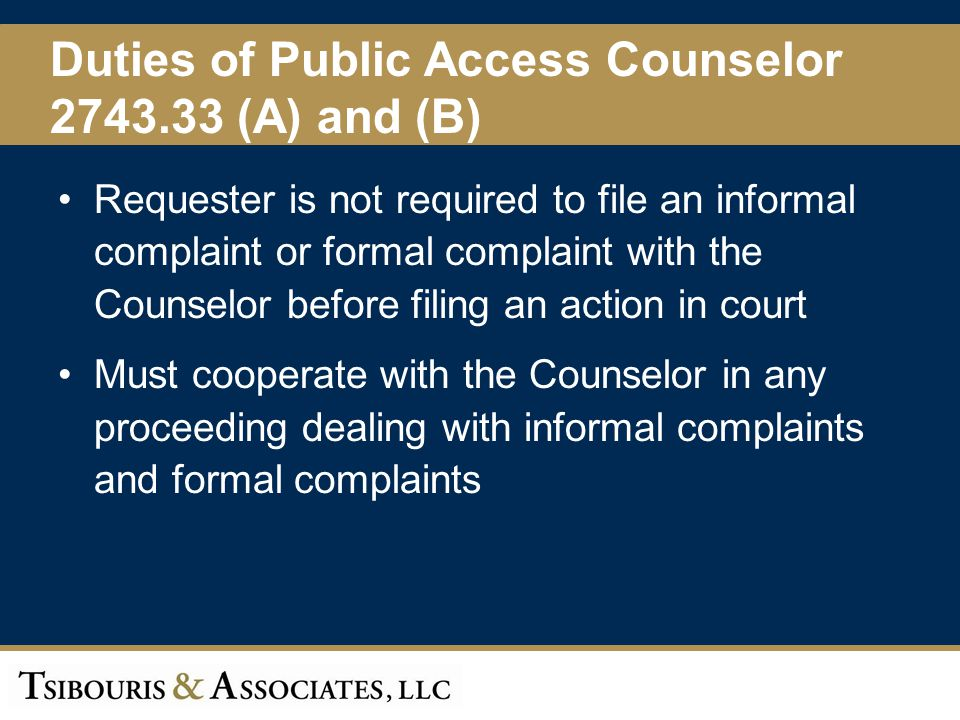 Duties of Public Access Counselor 2743.33 (A) and (B)