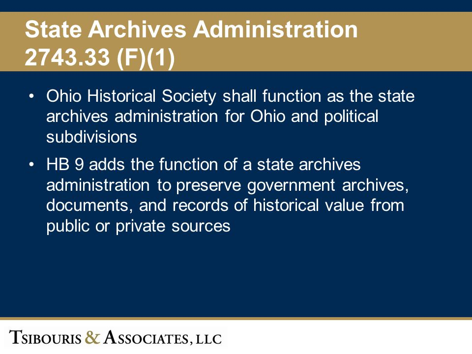 State Archives Administration 2743.33 (F)(1)