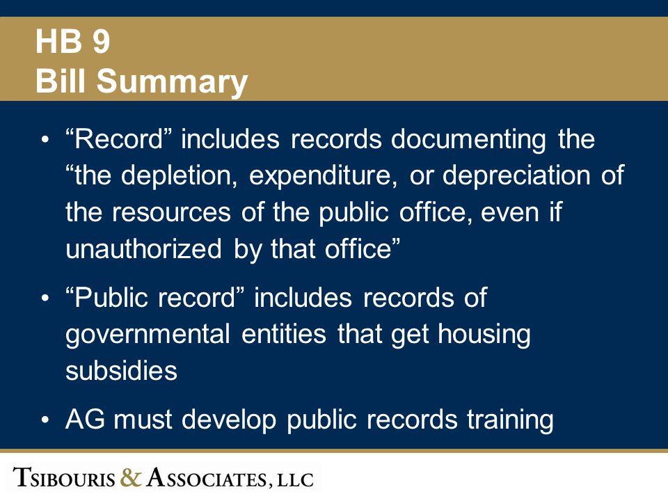 HB 9 Bill Summary.
