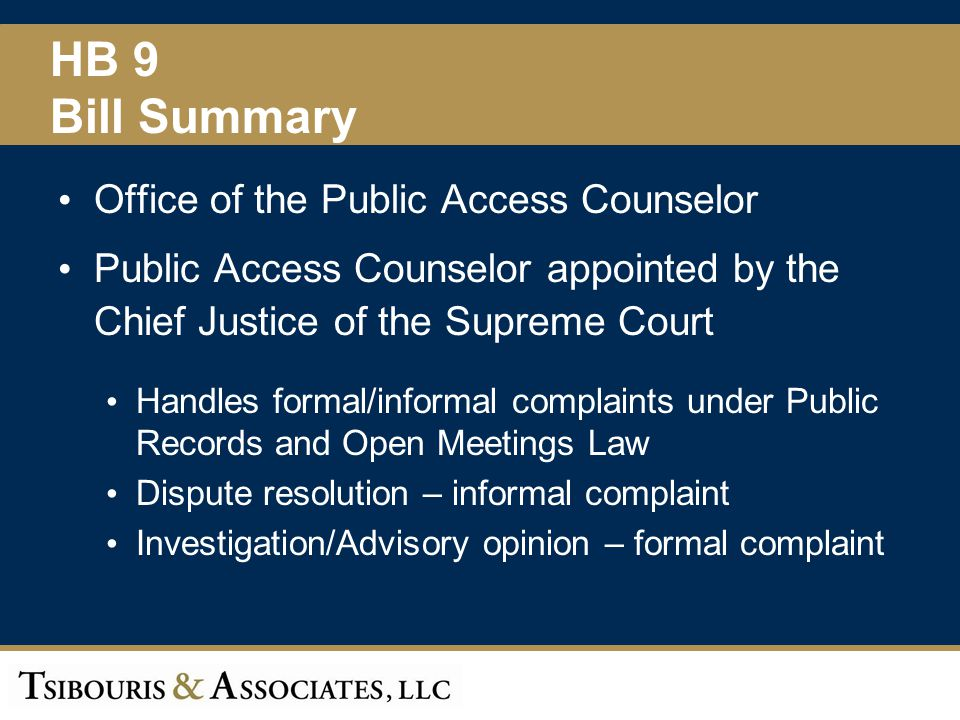HB 9 Bill Summary Office of the Public Access Counselor