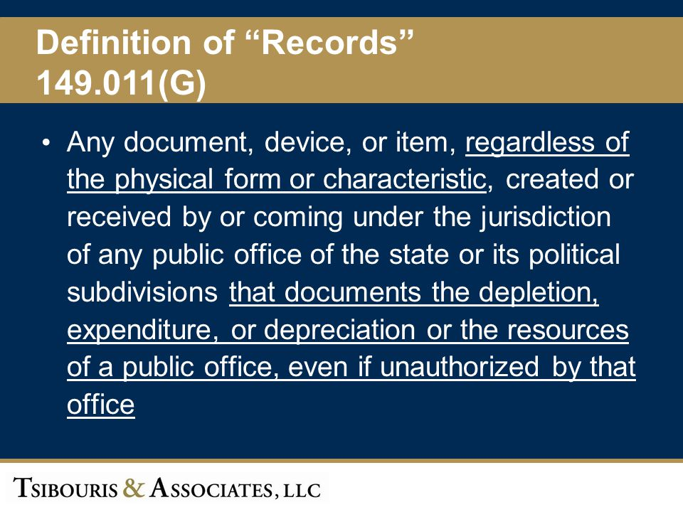 Definition of Records 149.011(G)
