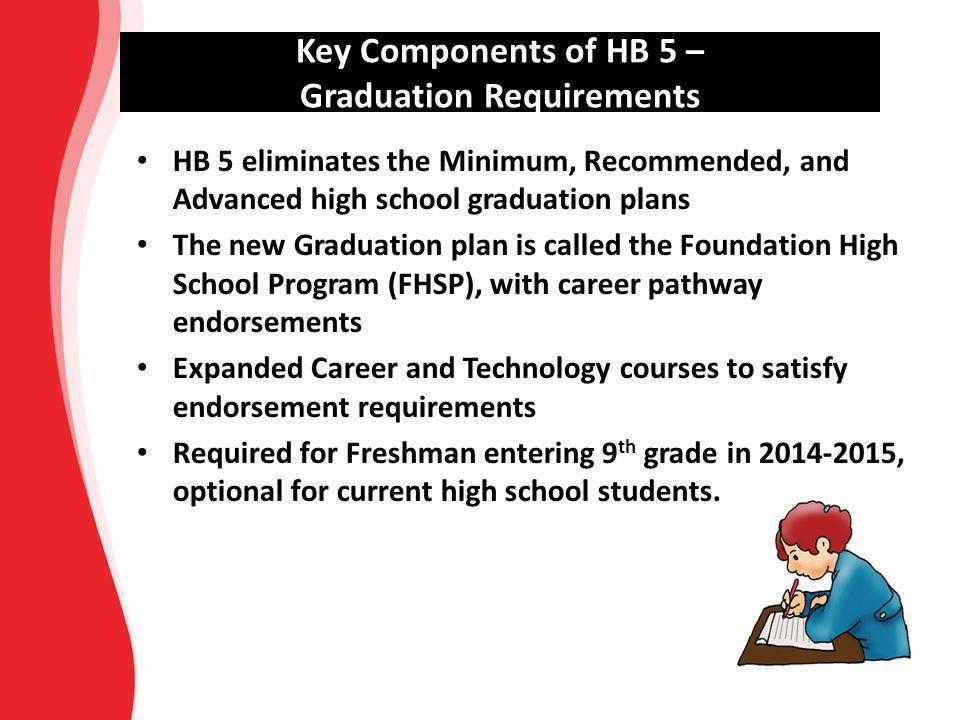 Key Components of HB 5 – Graduation Requirements