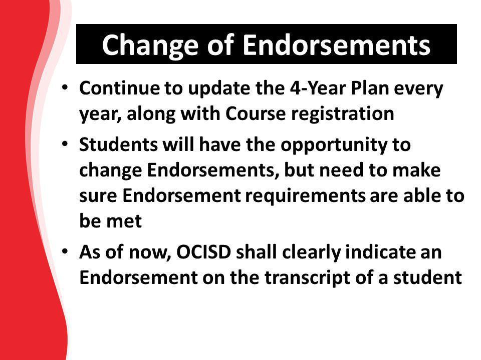 Change of Endorsements