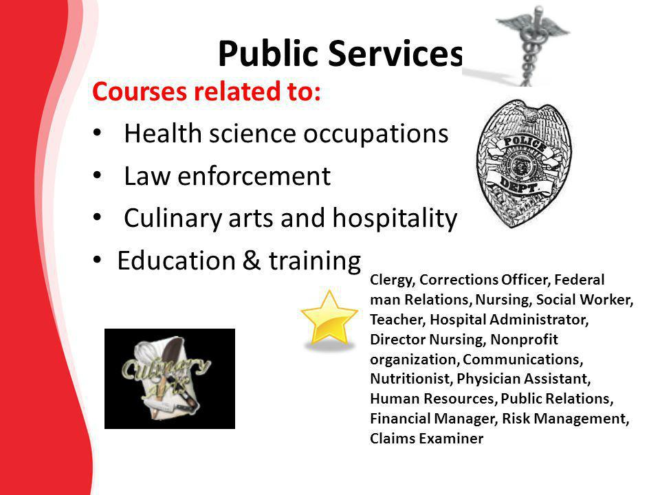 Public Services Courses related to: Health science occupations