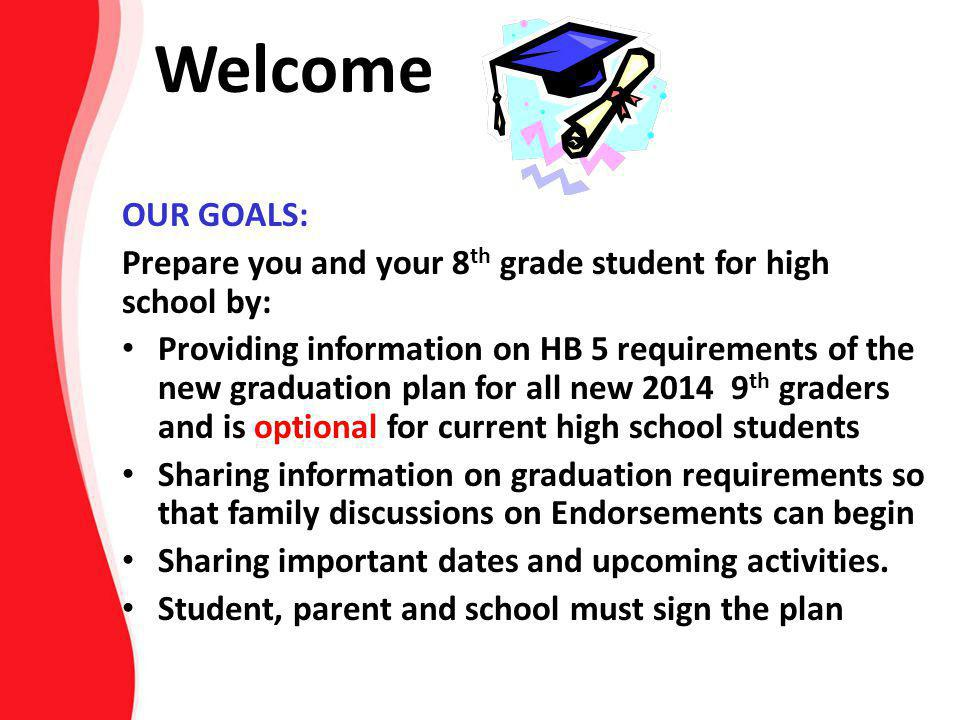 Welcome OUR GOALS: Prepare you and your 8th grade student for high school by: