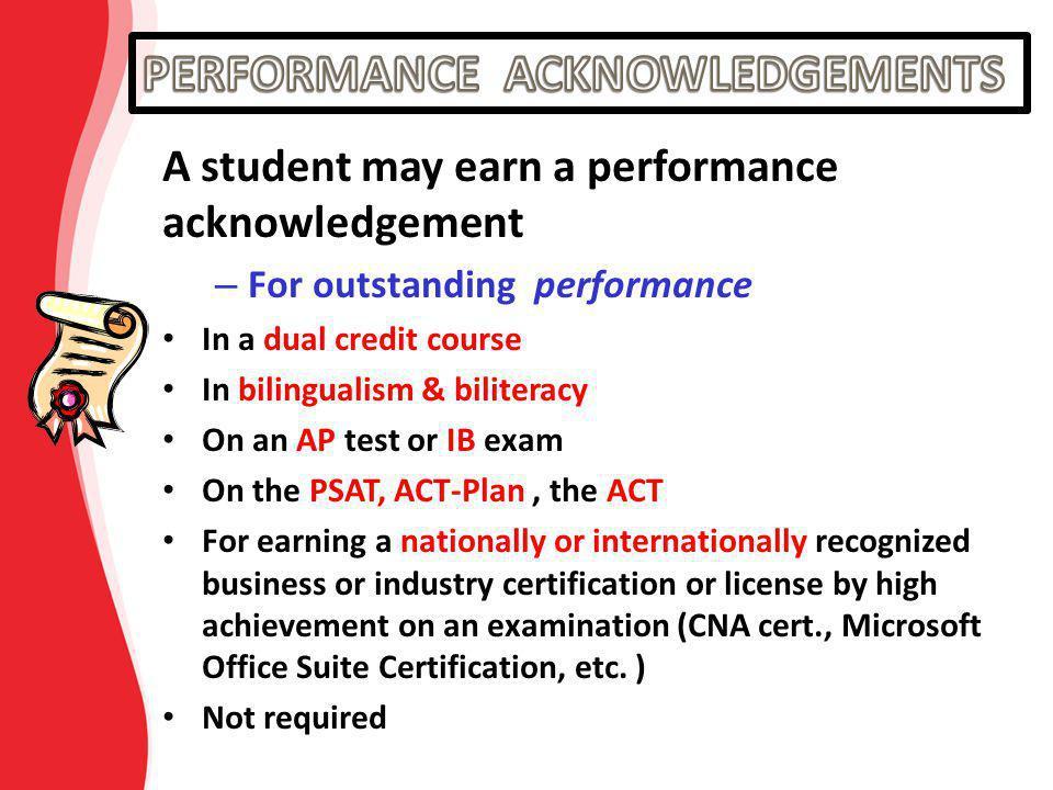 PERFORMANCE ACKNOWLEDGEMENTS