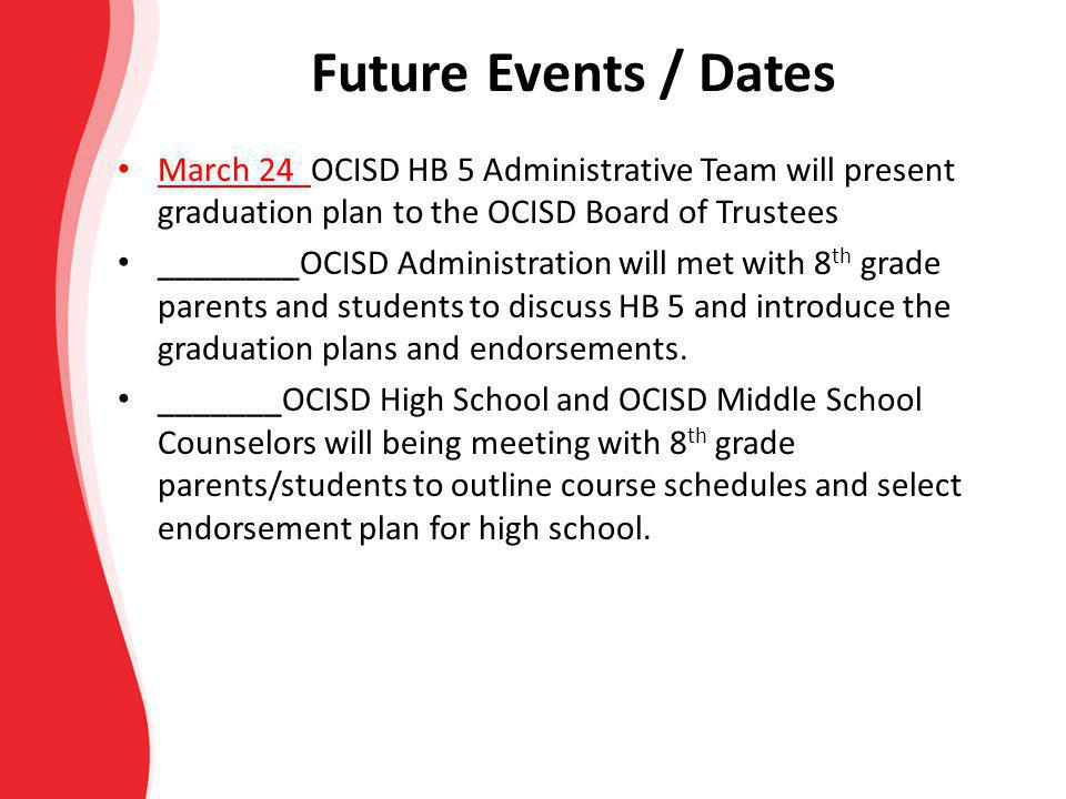 Future Events / Dates March 24 OCISD HB 5 Administrative Team will present graduation plan to the OCISD Board of Trustees.