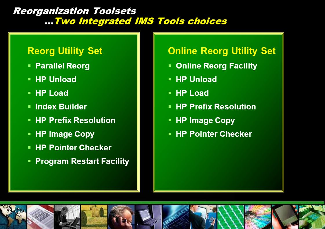 Reorganization Toolsets …Two Integrated IMS Tools choices