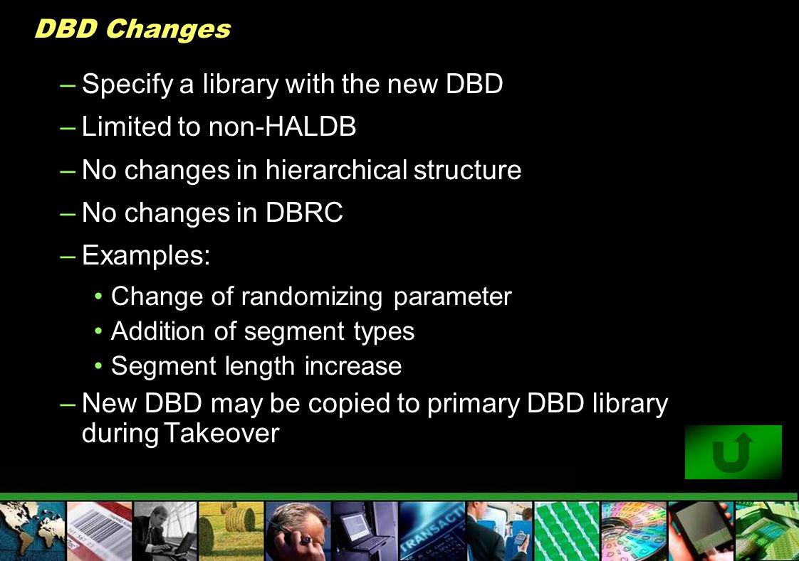 Specify a library with the new DBD Limited to non-HALDB