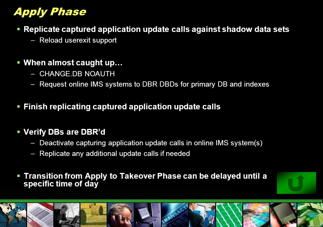 Apply Phase Replicate captured application update calls against shadow data sets. Reload userexit support.