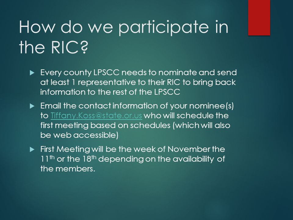 How do we participate in the RIC