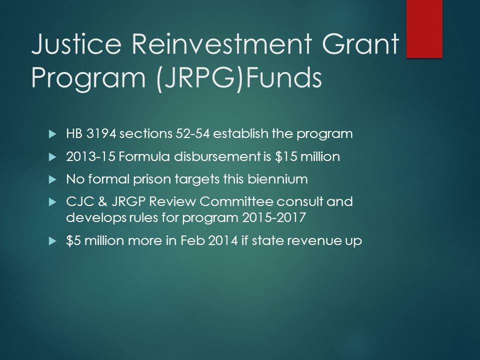 Justice Reinvestment Grant Program (JRPG)Funds