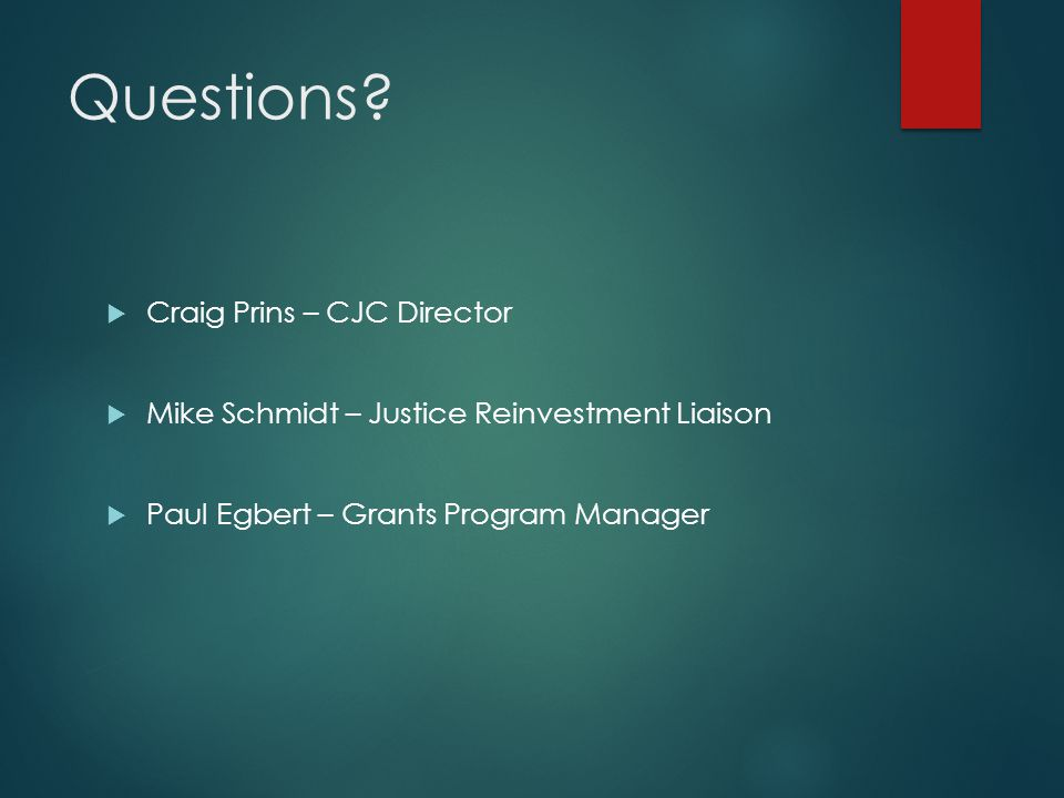 Questions Craig Prins – CJC Director