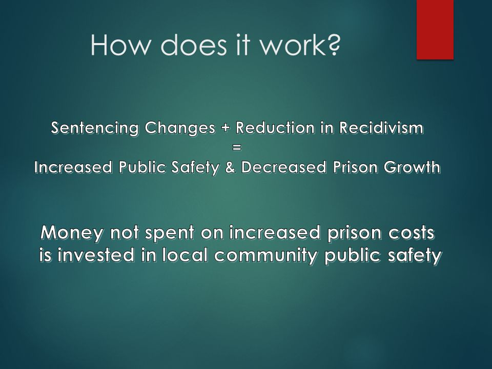 How does it work Money not spent on increased prison costs
